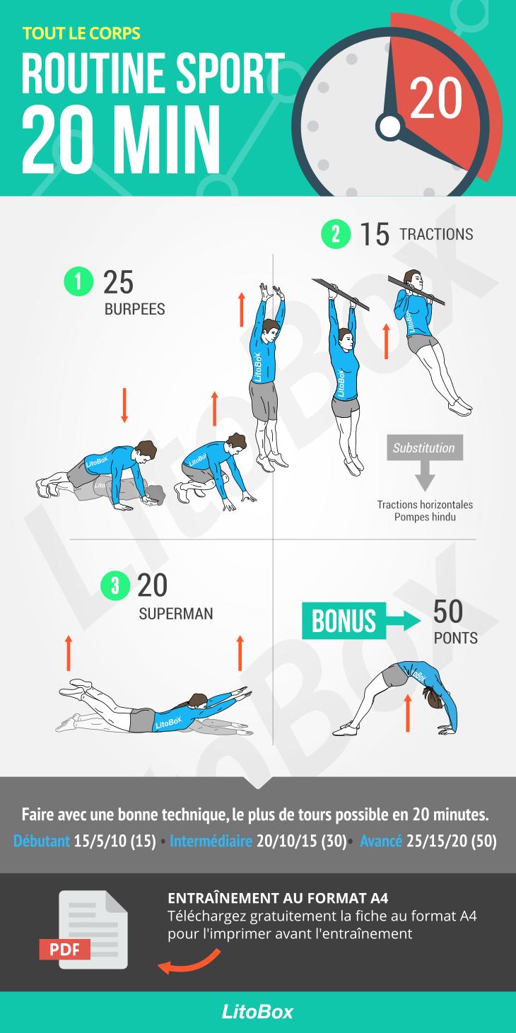 Routine sport de 20 minutes (PDF à télécharger) (avec ...