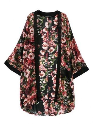 West Style Bustling Flower Printed Women Kimono Of Long Version