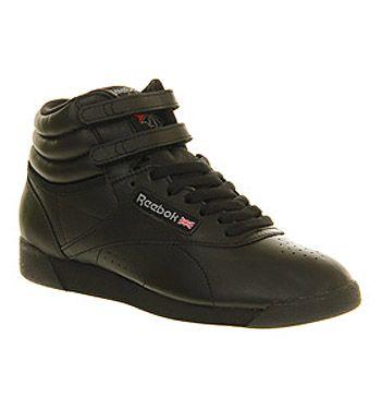 04e373c9c68dab Reebok Freestyle Hi Black Leather - Hers trainers