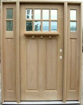 8 Lite Craftsman Style Door with 2-Lite Sidelights & Optional Dentil Shelf