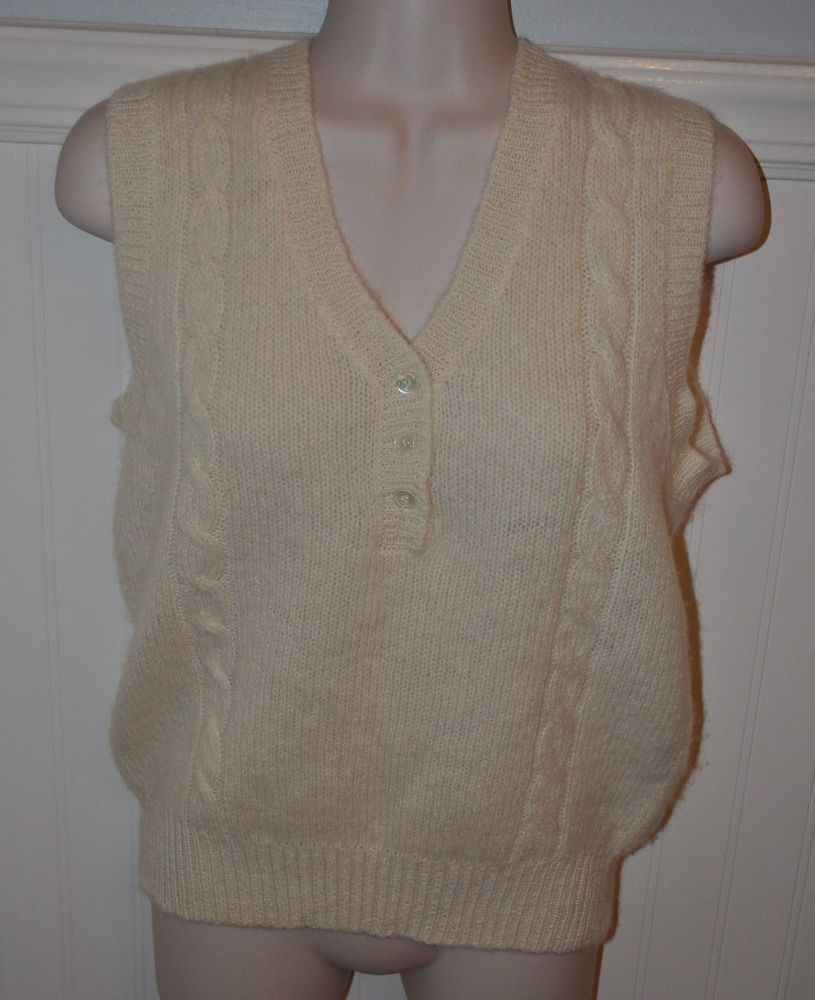 L L Bean Size S 36 Cream White Sweater Vest 100 Shetland Wool Cable Knit Euc Sweaters Discount Clothing Sweaters For Women