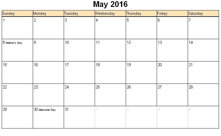 May 2016 Calendar With Holidays Canada | Montly Calendar ...