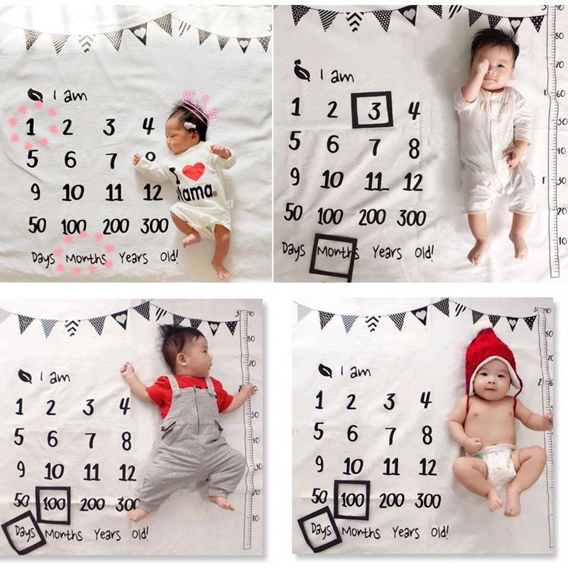 Newborn Baby Girls Boy Blanket Milestone Photography Photo Props Shoots Cloth