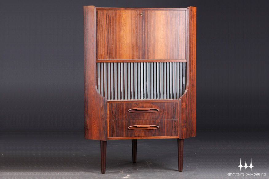 Danish Modern Mid Century Corner Cabinet In Brazilian Rosewood.