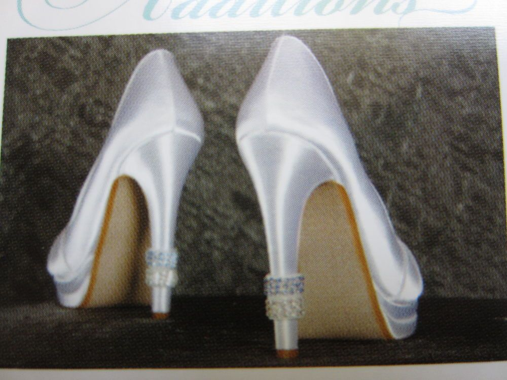 Bridal Heel Rings 2 Pair Rhinestone Blue & Clear Wedding Shoe Heels Bling Tutera