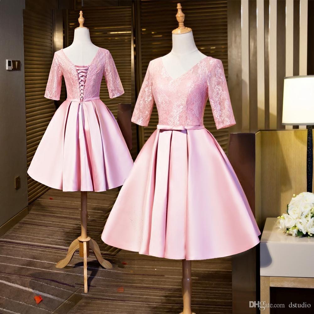 2017 Pink Bridesmaid Dresses Lace Satin Wedding Party Dresses