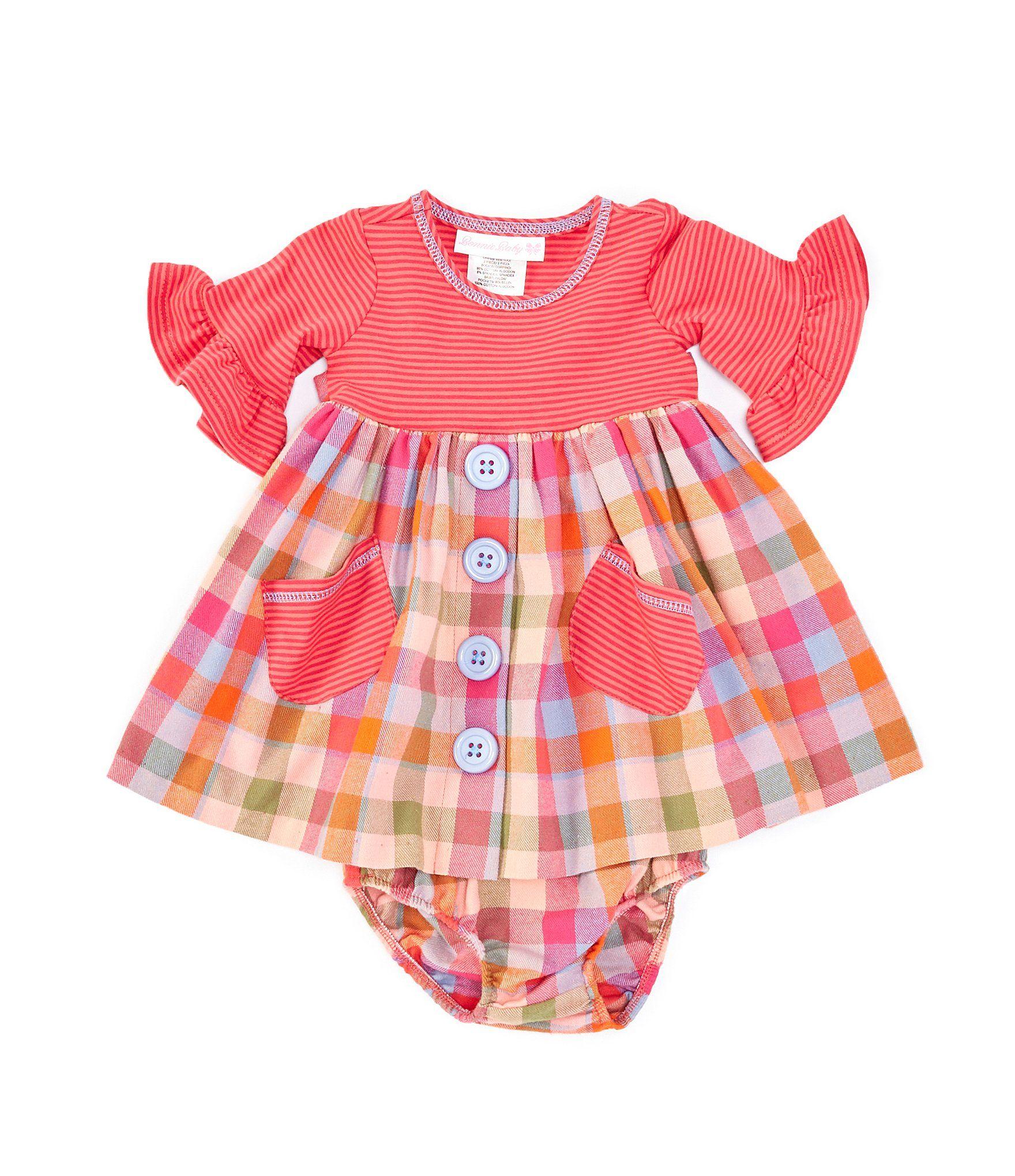 Photo of Bonnie Jean Baby Girls Newborn-24 Months Striped KnitPlaid Flannel Babydoll Dress – Orange 0/3 Months