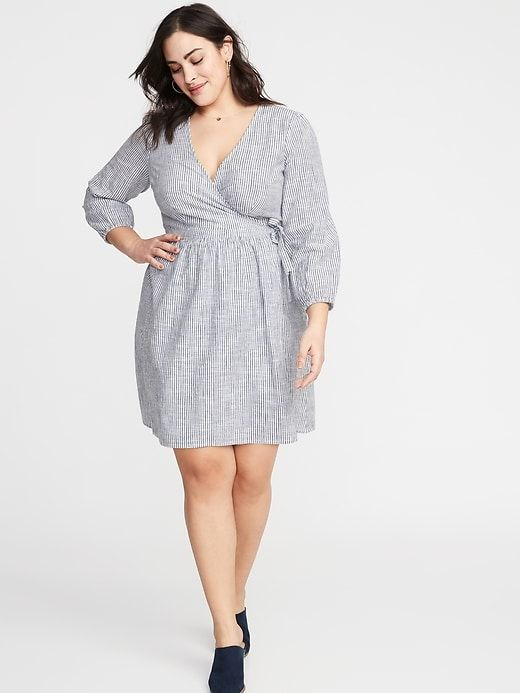 7af9537d88 Old Navy Women s Waist-Defined Plus-Size Wrap-Front Dress Navy Stripe Size  3X
