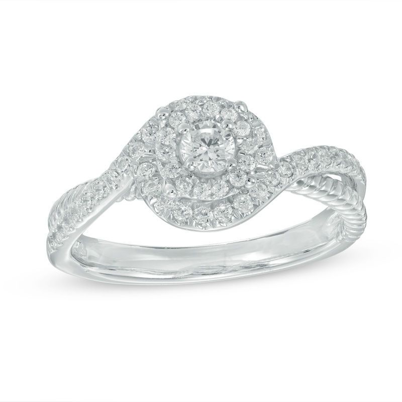 1 3 Ct T W Diamond Double Swirl Frame Engagement Ring In