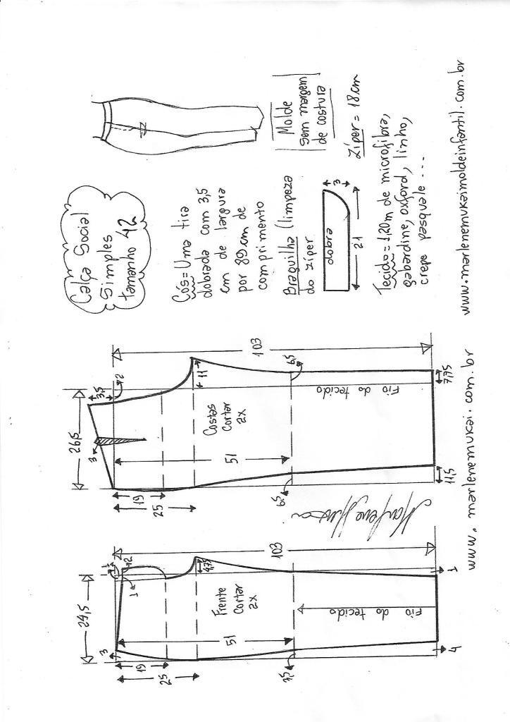 Calça social simples | Costura | Pinterest | Costura, Patronaje ...