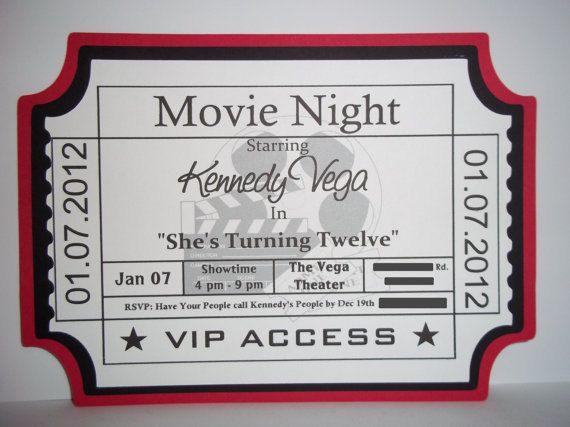Movie Ticket Birthday Invitations $1000, via Etsy Kaden\u0027s