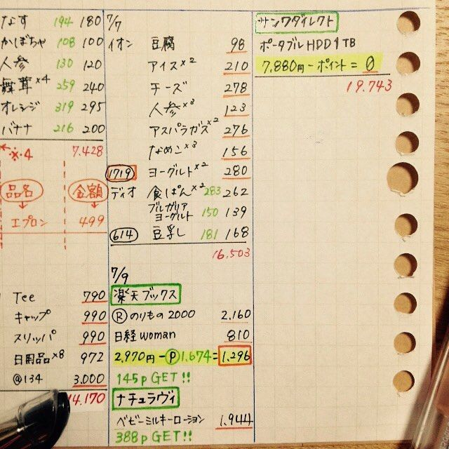づんの家計簿の書き方 先ほどの 上書き合計 までをしっかり書いてい
