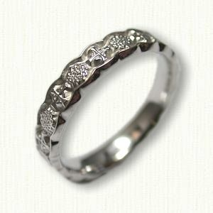 14kt White Gold 14kt White Gold Custom Celtic Crosses and Star of David with Celtic Hearts Wedding Band