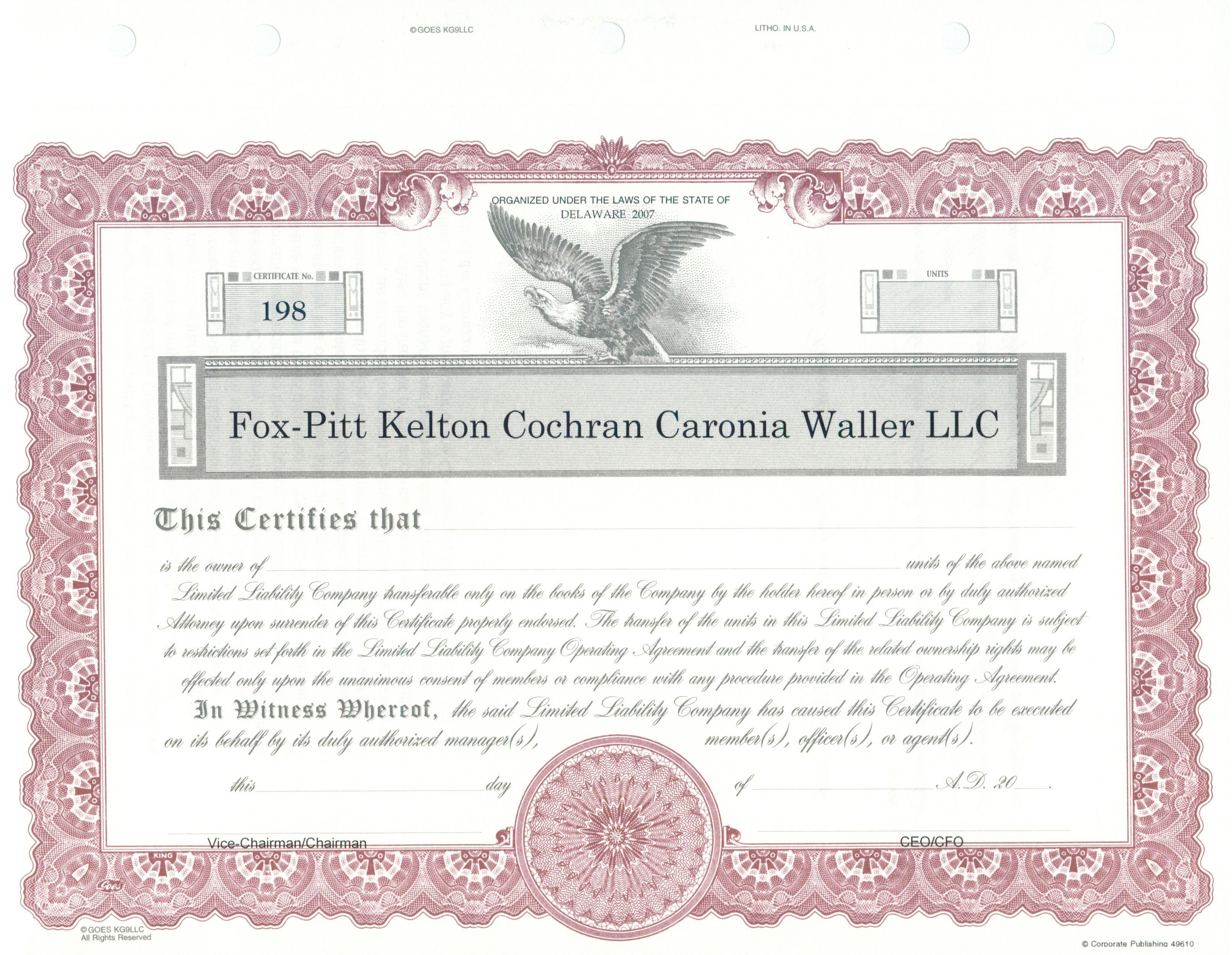 Custom LLC Unit Certificate - Goes #KG9 https://www.corporatepublishingcompany.com/product/goes-newkg9-certificates