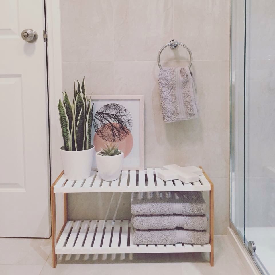 Kmart Kimmy stand being styled in Ms Munros bathroom. Just beautiful.