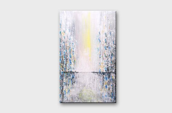 Acrylic art - Wall art vertical - Original modern abstract light blue grey gray painting on canvas - Wind city sunset - Large abstract painting
