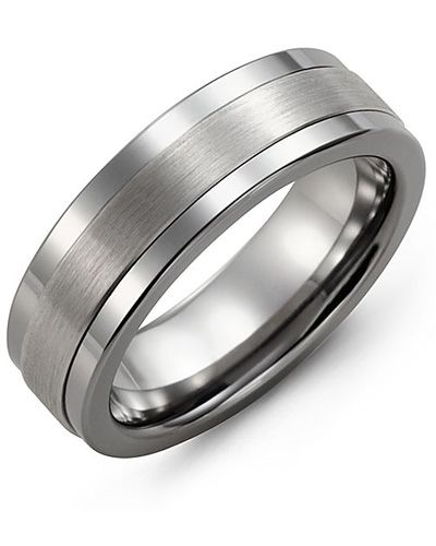 Men's tungsten carbide wedding ring with 10kt white gold inlay. 7mm comfort fit band. Free Canadian shipping. MBM710TW
