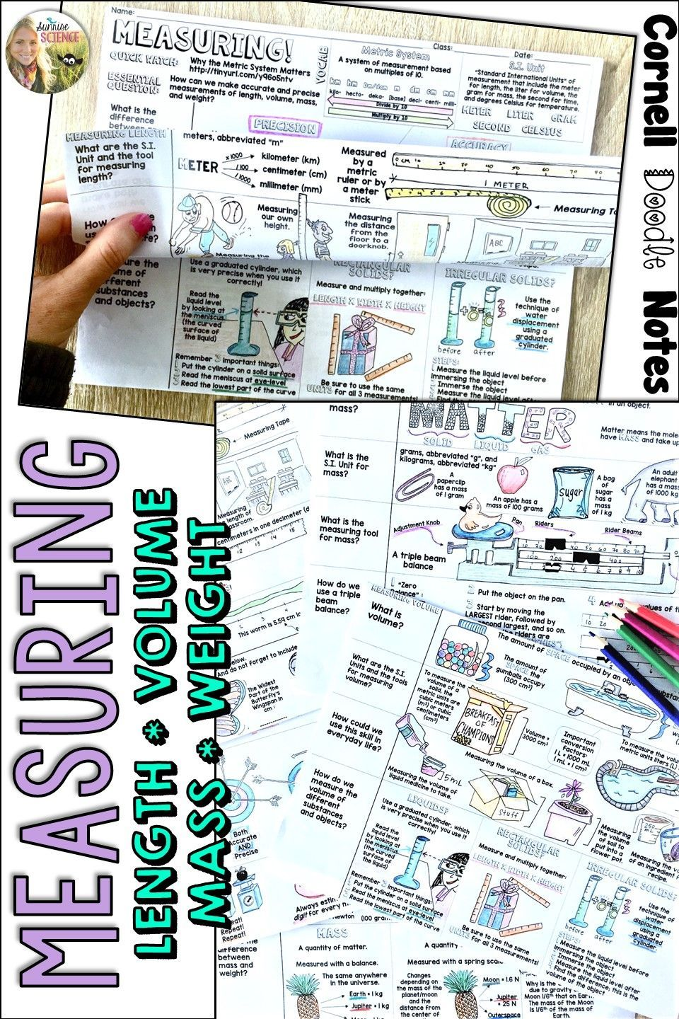 Measuring Matter Cornell Doodle Notes LENGTH MASS WEIGHT VOLUME with ...
