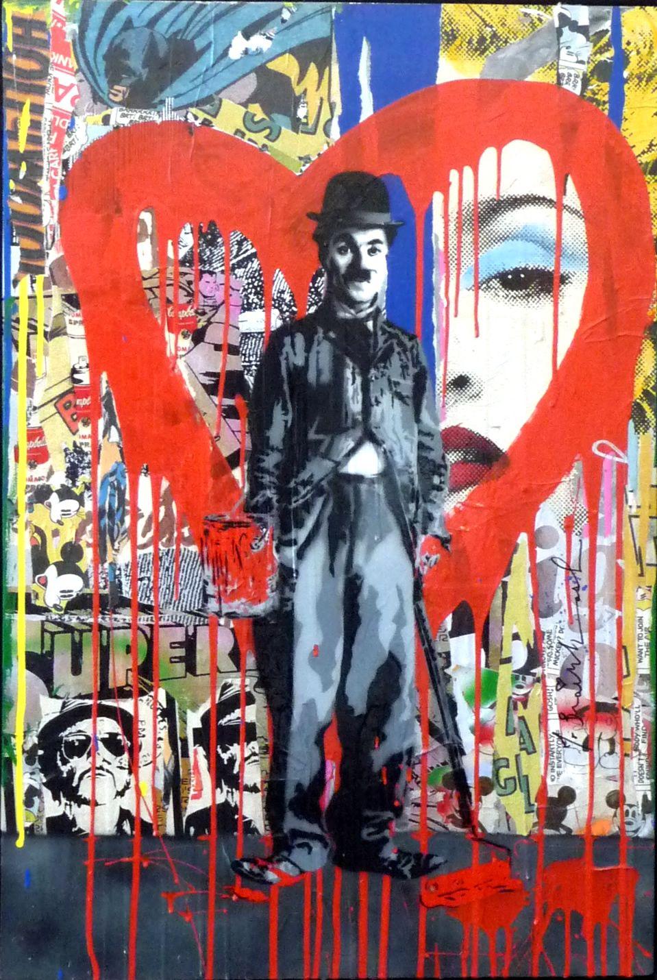 Graffiti art for sale canada - Charlie Chaplin And Madonna Street Art Graffiti Style Art By Mr