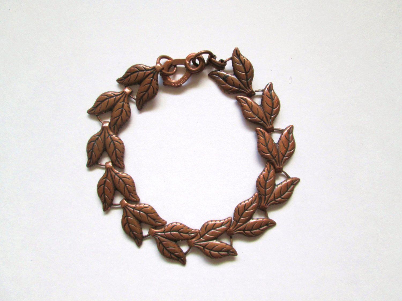 Solid Copper Bracelet Leaf Chain Design 8 Inch Size by MrsDinkerson on Etsy https://www.etsy.com/listing/197154419/solid-copper-bracelet-leaf-chain-design