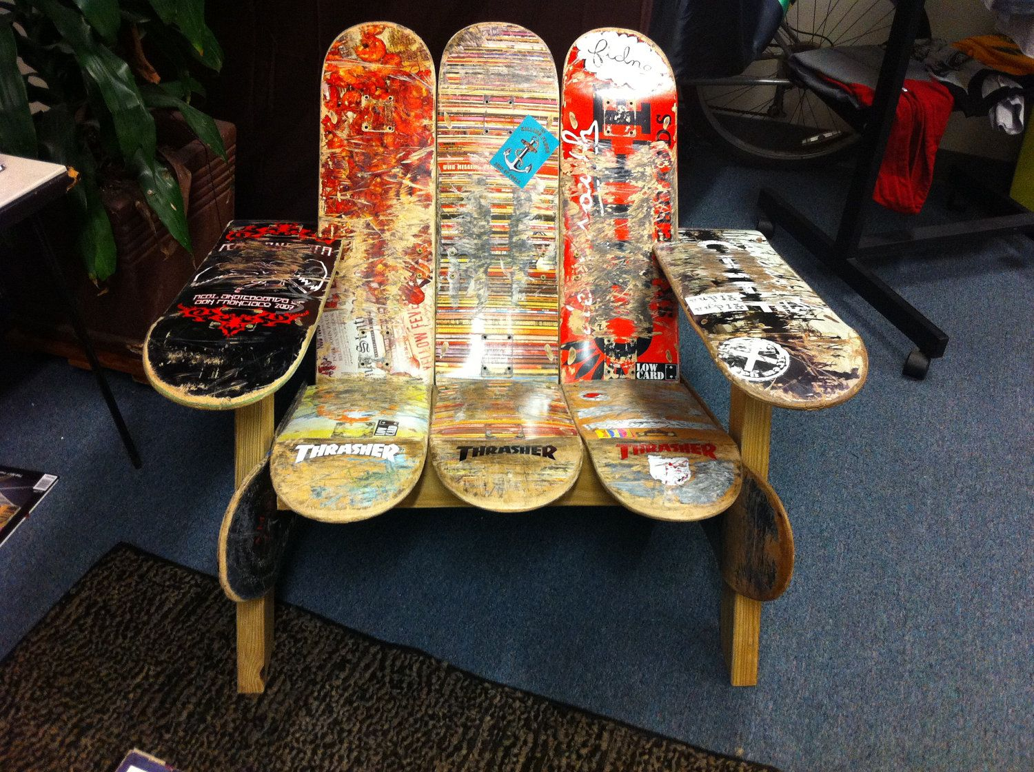 One Of Kind Adirondack Style Chairs Made From Used Skateboards Raising Money To Donate To Building Im Skateboard Furniture How To Raise Money Adirondak Chairs