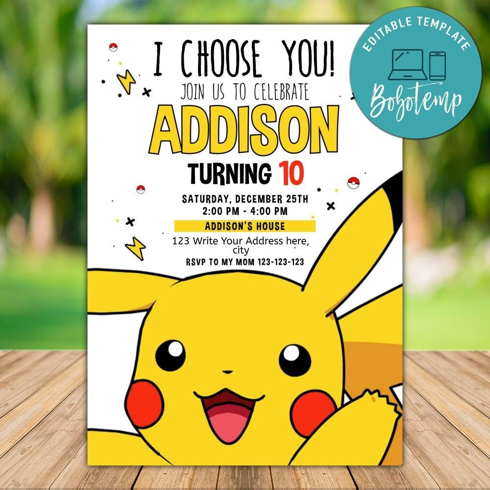 Printable Pokemon Go Birthday Invitation And Free Thank You Card Pokemon Birthday Invites Cute Thank You Cards Pokemon Invitations
