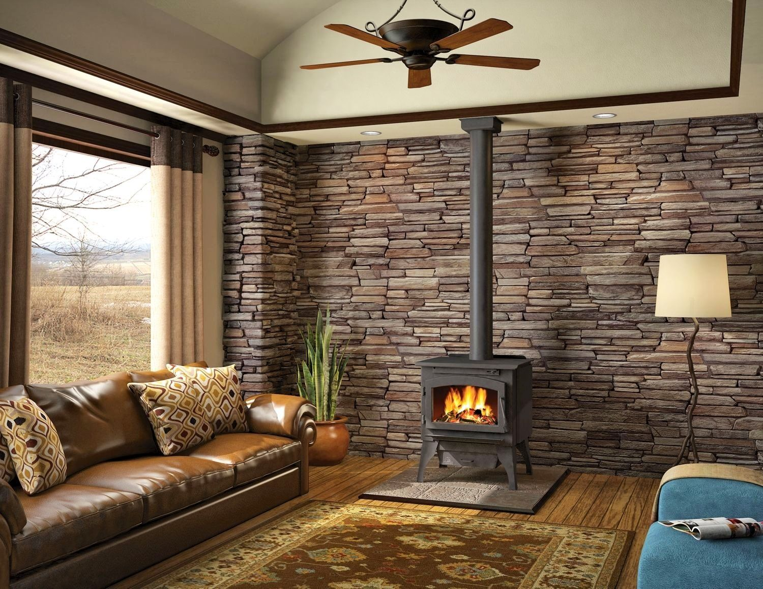 Wood stove surround ideas - Wood Stove With Ledgestone Back Wall Kind Of Liking The Stone Wall Idea