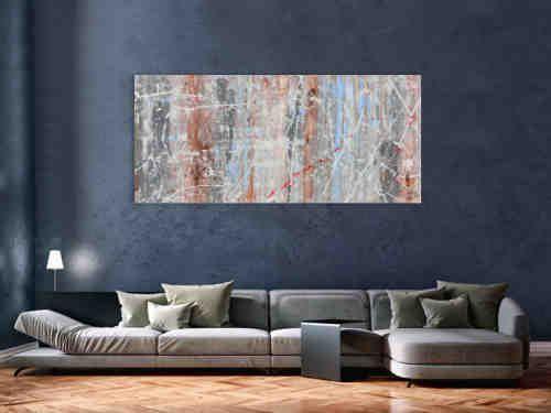 Schlichtes abstraktes Acrylbild helle Farben weiß blau braun grau ...
