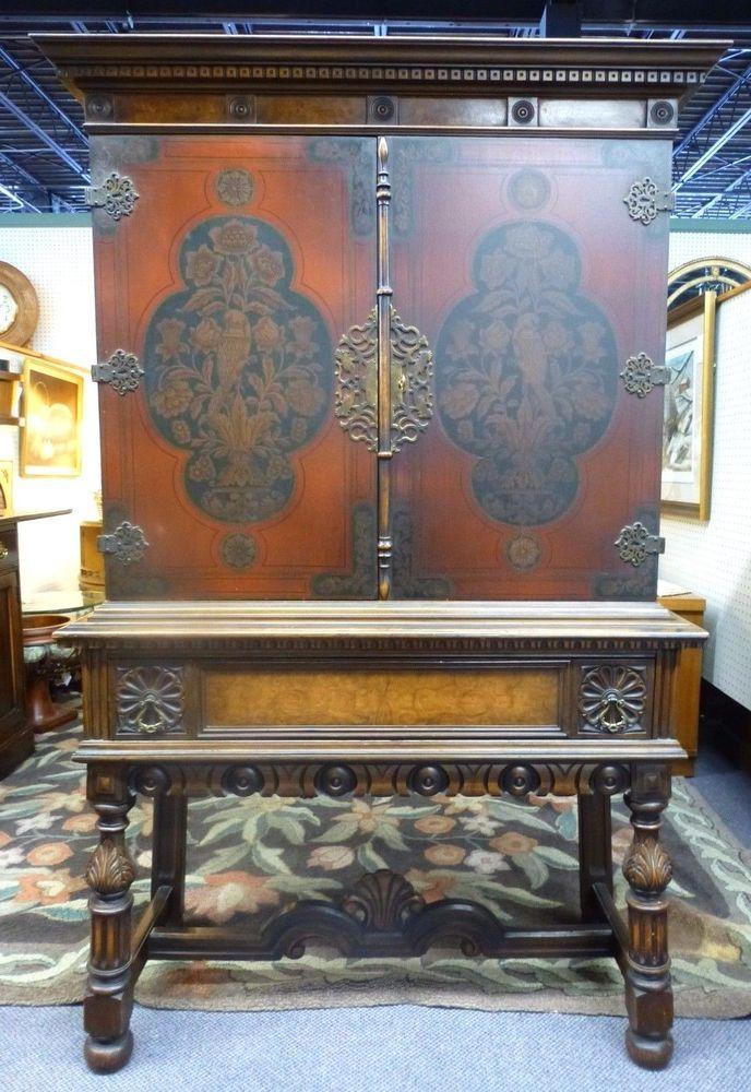 Antique Berkey & Gay 2 Door, 1 Drawer Tall Carved Cabinet. Stenciled Birds. - Antique Berkey & Gay 2 Door, 1 Drawer Tall Carved Cabinet. Stenciled