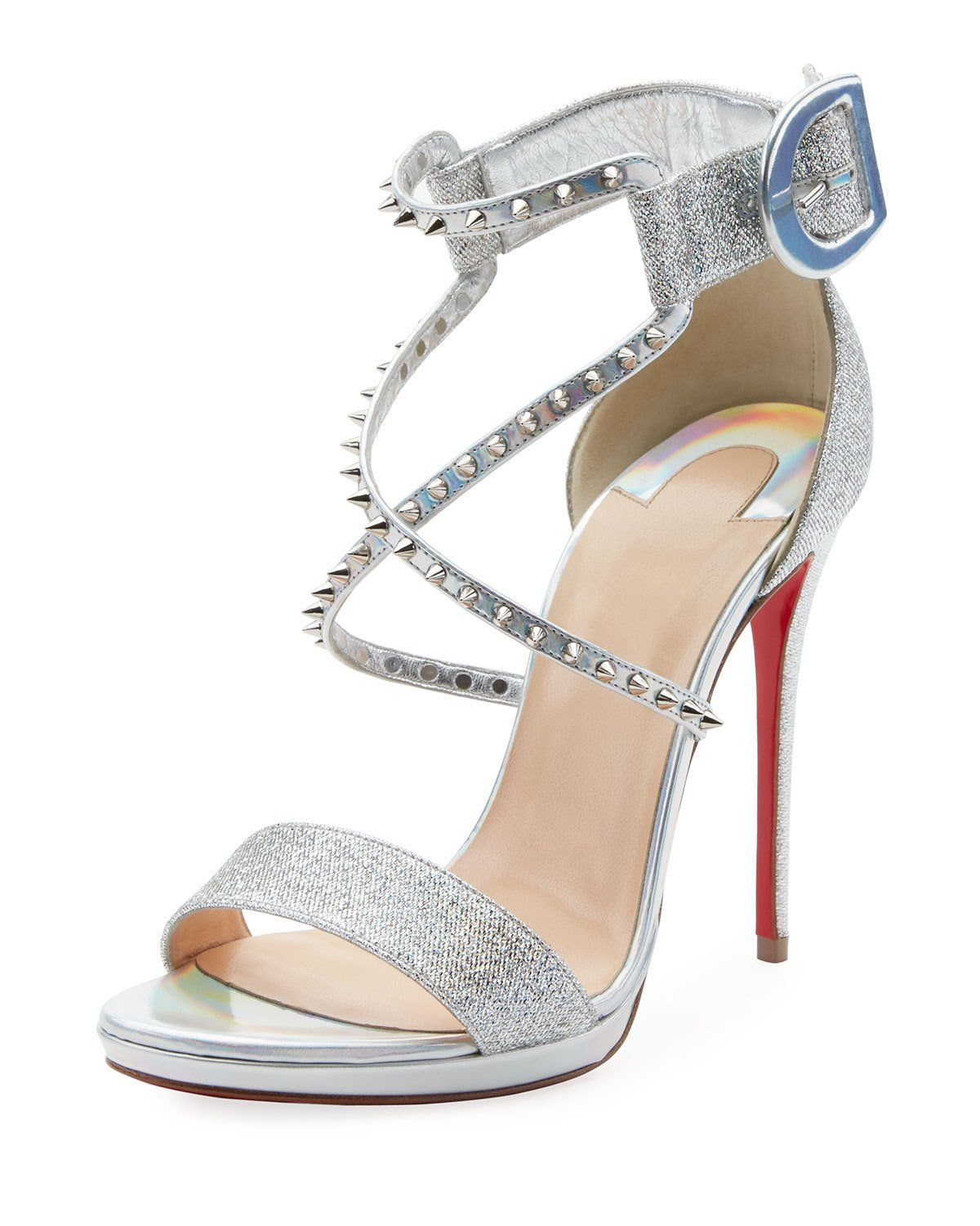 huge selection of 8e75f 49c2d Christian Louboutin Choca Lux 120mm Metallic Fabric Red Sole ...