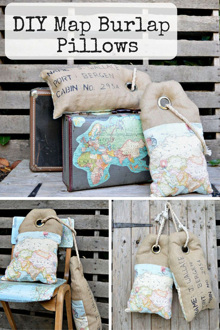 Full tutorial on how to make these unique map burlap pillows that look like luggage tags.