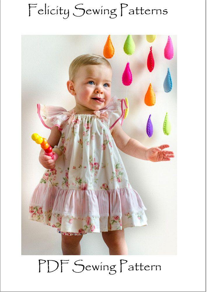 El modelo de costura de la mariposa del vestido del bebé y de la muchacha para FelicityPatterns