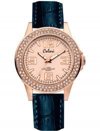 COLORI Crystals Rose Gold Black Leather Strap COL323 #joy #style #fashion