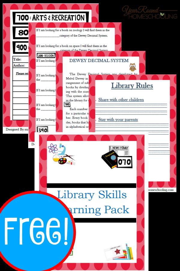 Free Library Skills Printable Pack Pinterest