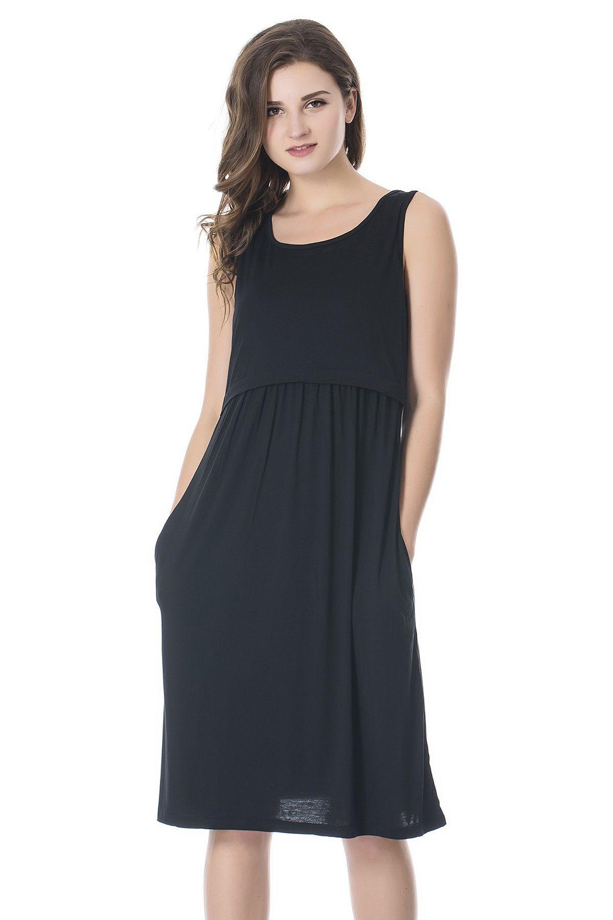 f7a6294c47d Maternity Outfits - skinny maternity maxi dress : Bearsland Womens  Sleeveless Maternity Dress Empire Waist Nursing Breastfeeding Dress Summer  Black Medium ...