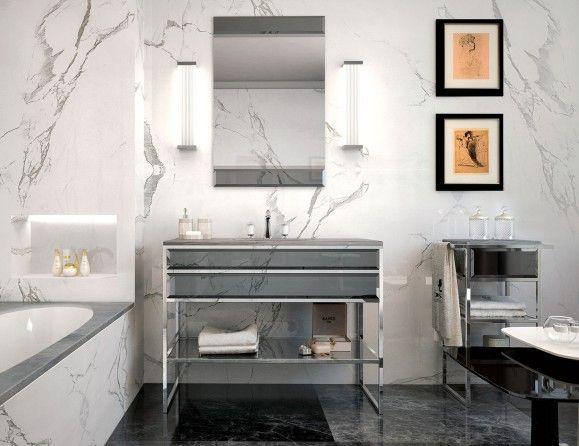 Nella Vetrina High End Italian Bathroom Vanity Gray Glass Silver Frame Luxury Bathroom Stylish Bathroom Italian Bathroom