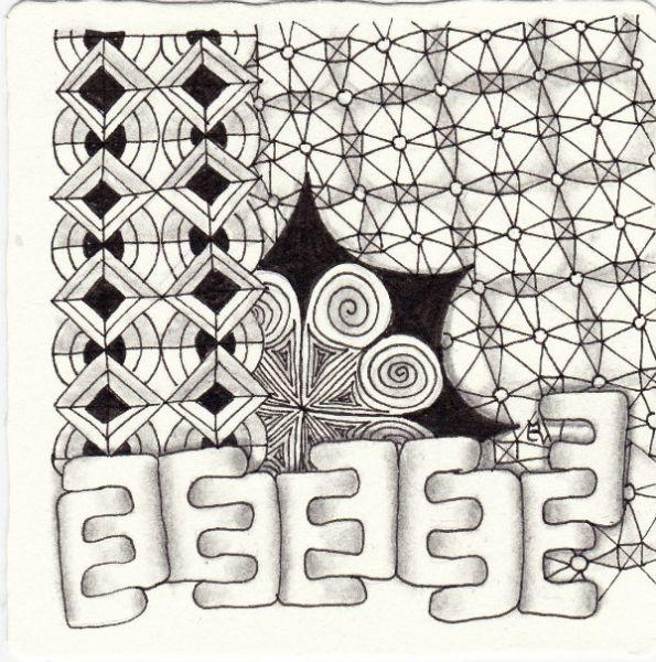 Ein Zentangle aus den Mustern CanT, Chain Link, Dekore, E gezeichnet von Ela Rieger, CZT