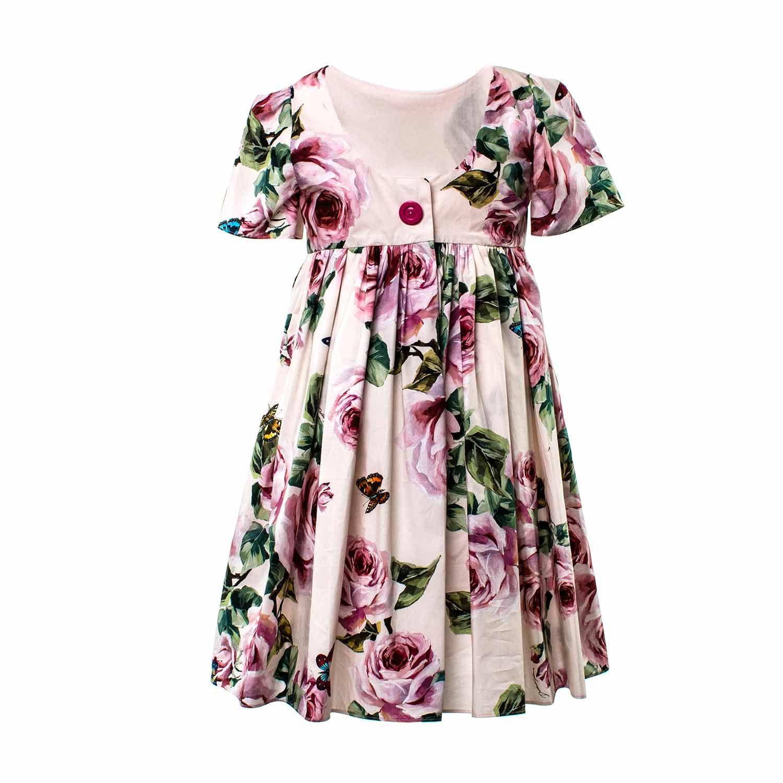 Dolce   Gabbana - Abito Rosa Con Fiori Bambina - Elegante abito rosa con  fantasia floreale c4921a7ba83