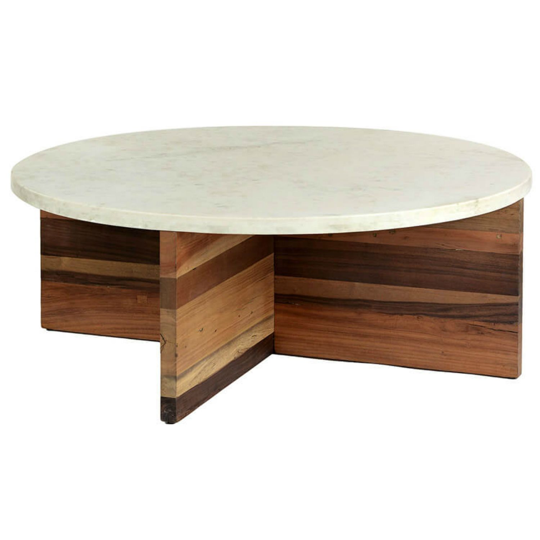 Dustin Modern Classic White Marble Top Wood Round Round Coffee Table Marble Coffee Table Coffee Table Round Wood Coffee Table [ 1500 x 1500 Pixel ]