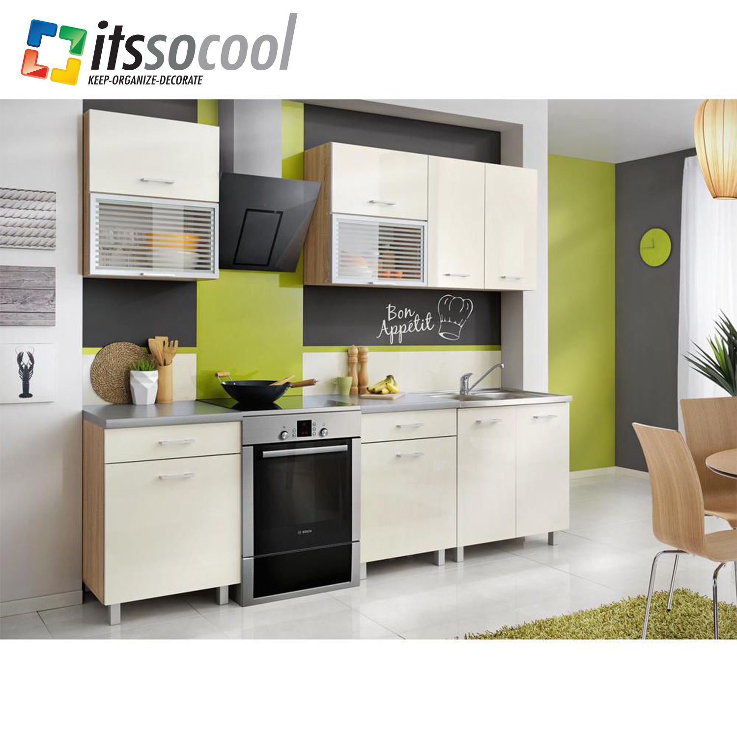 Kitchen cabinets made of laminated board. Color: Sonoma oka farme ...
