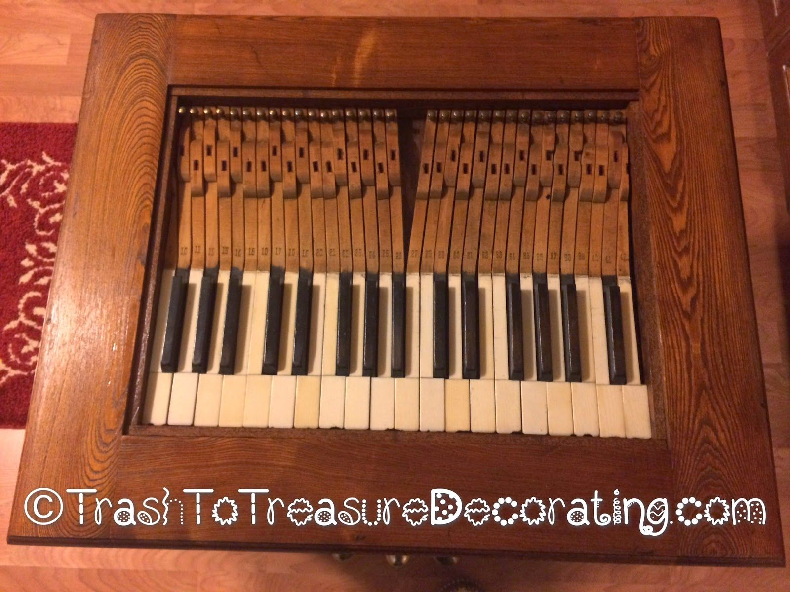 Table top made from upcycled old piano keys trash to for Art made with keys