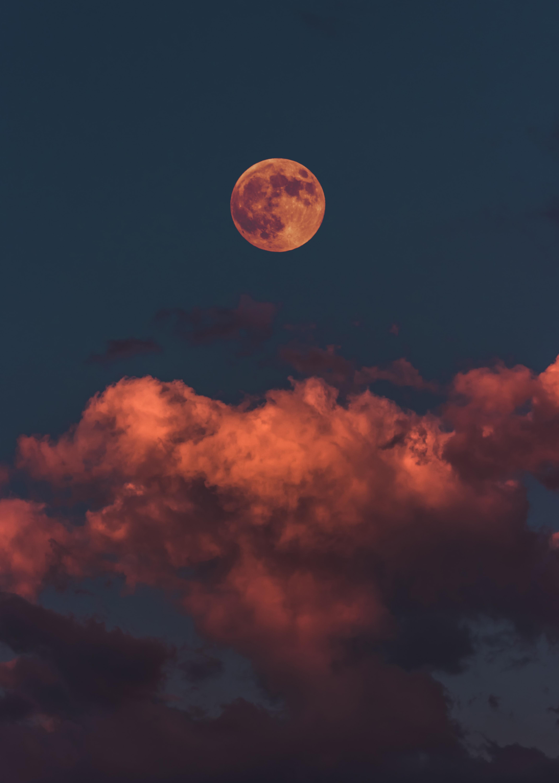 Sunset Moon Light Clouds