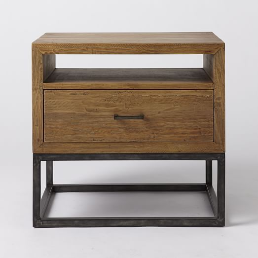 Copenhagen Reclaimed Wood Nightstand West Elm Retro Bedside