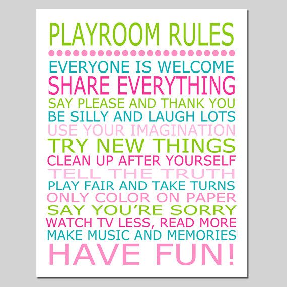 This charming print is one of my 11x14 original digital designs... a cute way to spruce up a nursery, bedroom, or playroom. Playroom Rules! Customize in