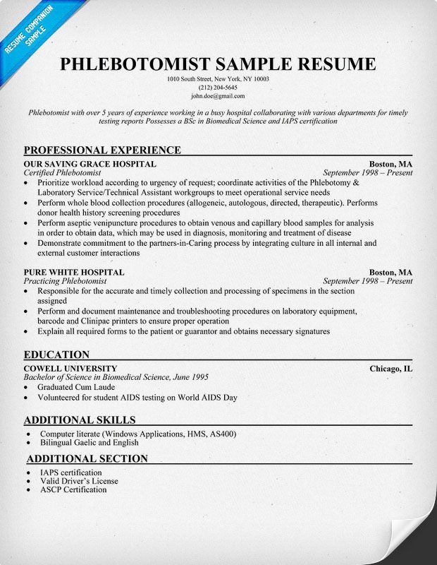 Resume Sample For Phlebotomist  HttpResumesdesignComResume