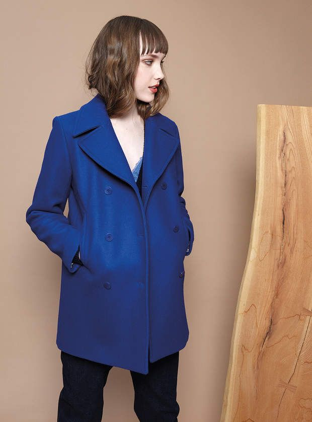 achat manteau femme hiver bleu electrique