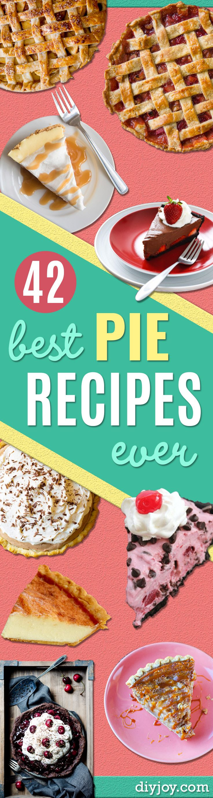 Best Pie Recipes - Easy Pie Recipes From Scratch for Pecan, Apple, Banana, Pumpkin, Fruit, Peach and Chocolate Pies. Yummy Graham Cracker Crusts and Homemade Meringue - Thanksgiving and Christmas Pies and Mason Jar Pie Recipes http://diyjoy.com/best-pie-recipes