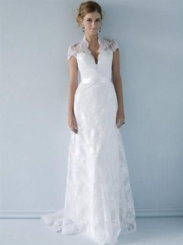 Ivory/ white lace V-neckline Wedding bridal Dress gown short sleeve ...