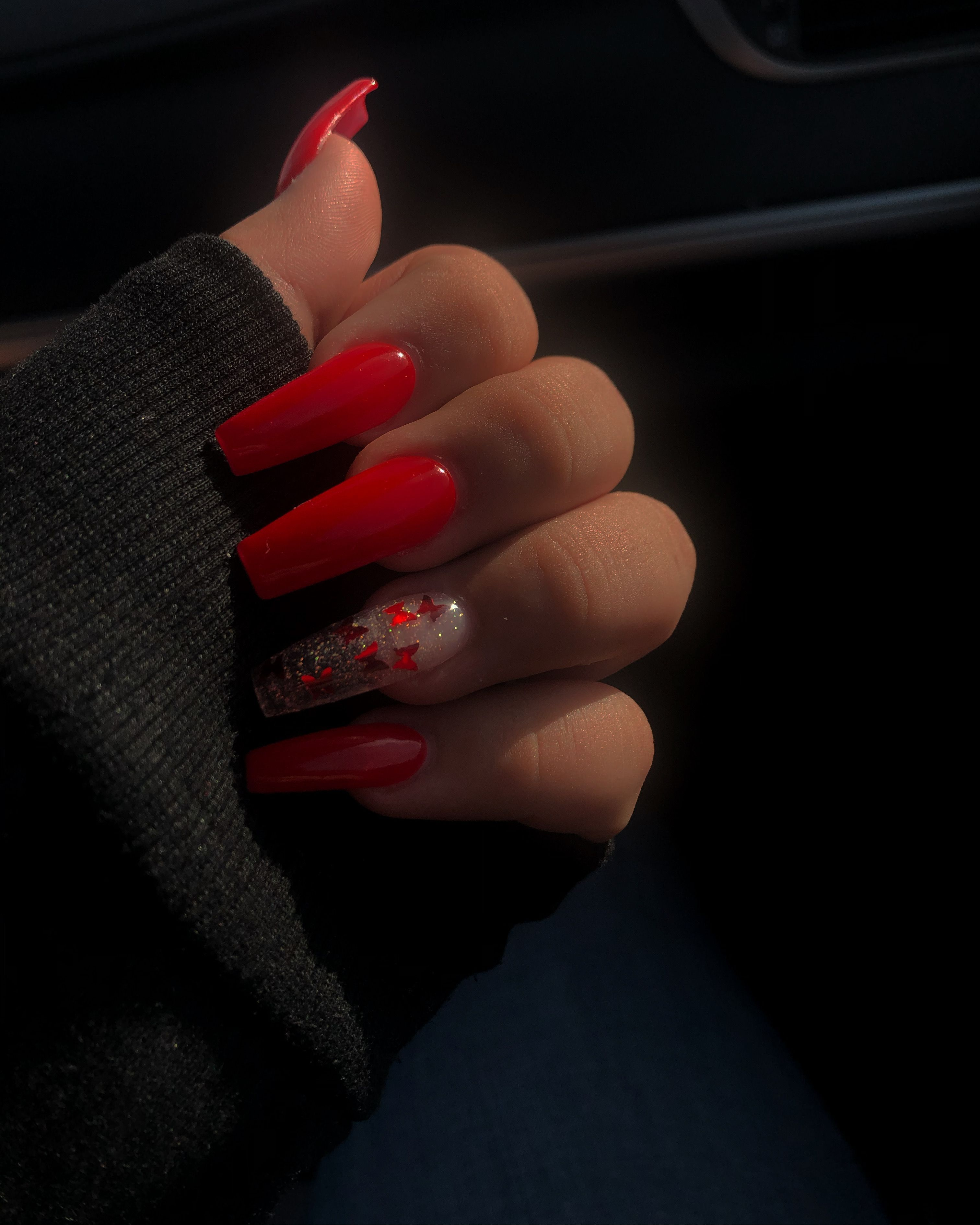 Red Butterfly Nails In 2020 Long Square Acrylic Nails Long Acrylic Nails Coffin Clear Acrylic Nails