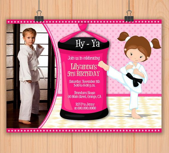 Karate Girls Personalized Birthday Photo Invitation Printable For